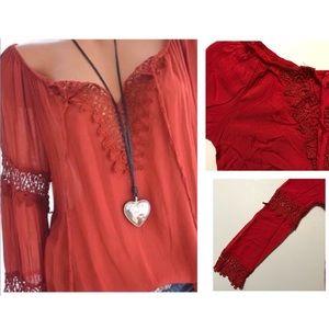 Oversized Bohemian Red Crochet Top